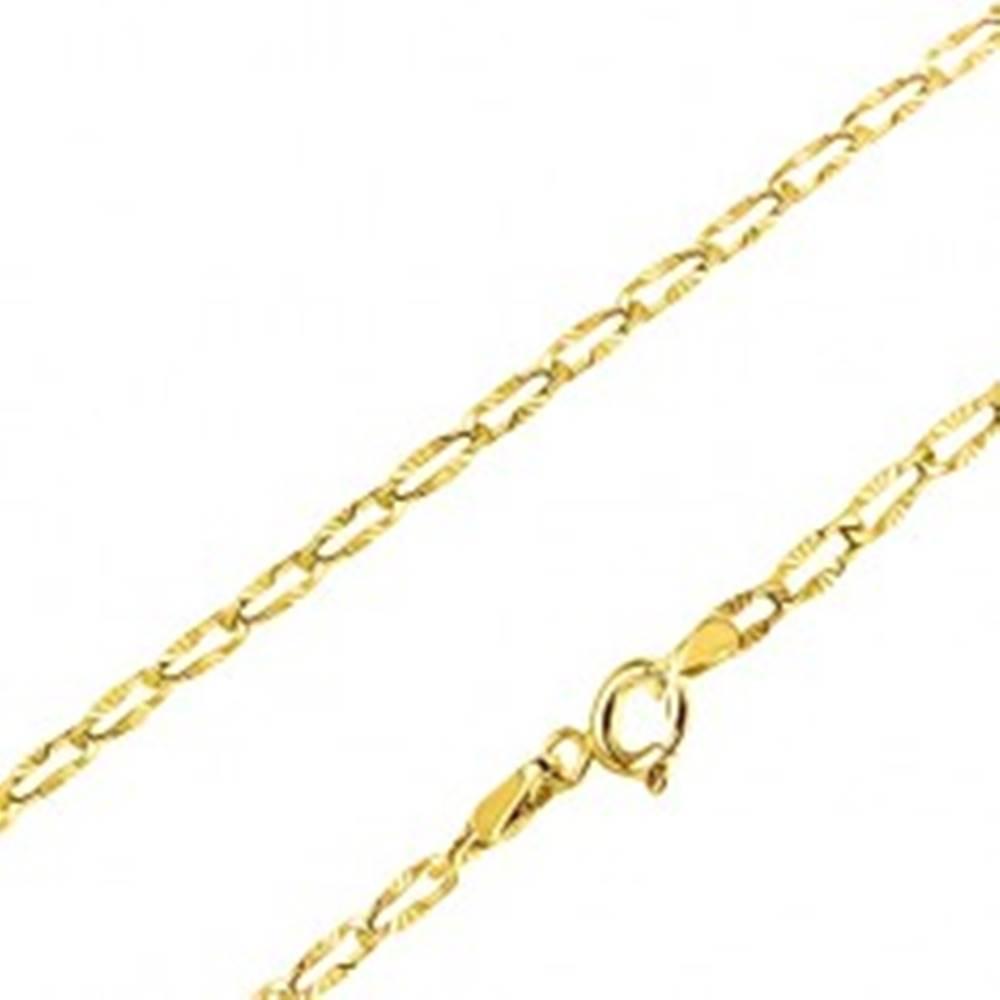 Šperky eshop Zlatá retiazka 585 - ploché podlhovasté očká, lúčovité ryhovanie, 450 mm