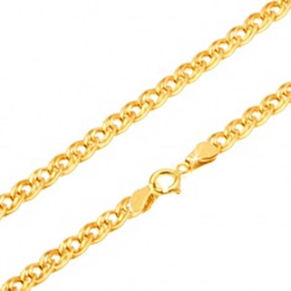 Šperky eshop Zlatá retiazka 585 - trblietavé elipsovité väčšie a menšie očko, 450 mm