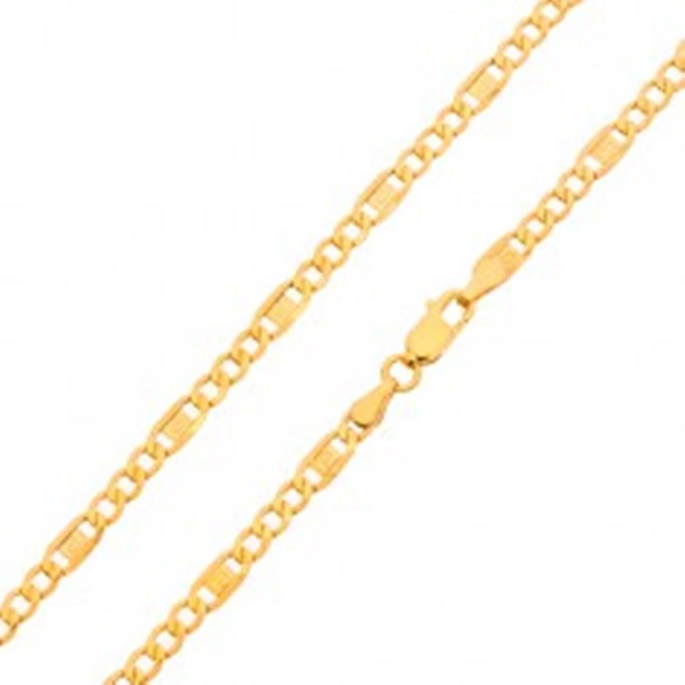 Šperky eshop Zlatá retiazka 585 - tri oválne očká, článok s gréckym kľúčom, 550 mm