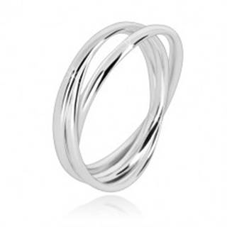Trojitý prsteň zo striebra 925 - úzke prepojené prstence s lesklým povrchom - Veľkosť: 49 mm
