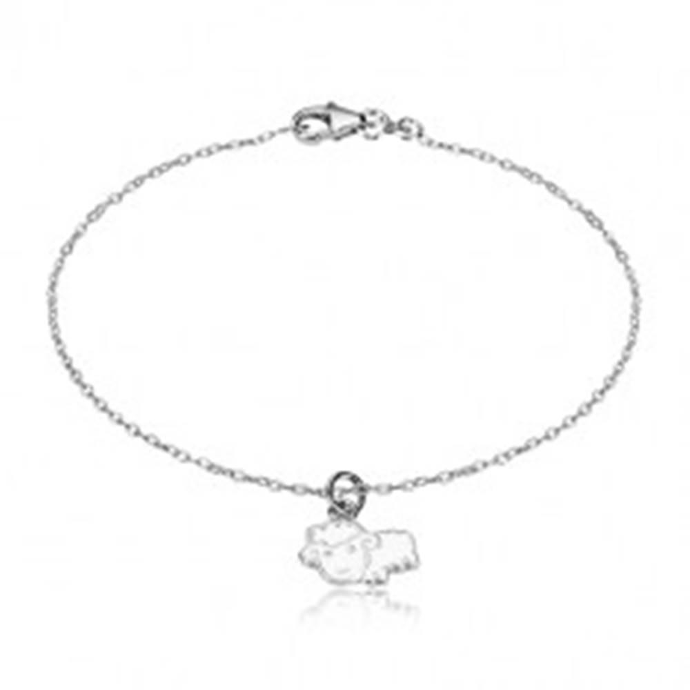 Šperky eshop Náramok zo striebra 925 - ligotavá retiazka a ovečka s bielou glazúrou