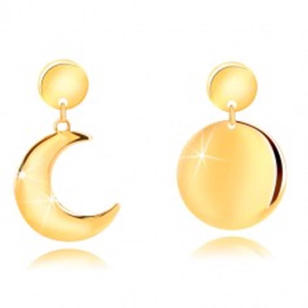 Šperky eshop Náušnice zo striebra 925 v zlatom odtieni - polmesiac a mesiac v splne, puzetky