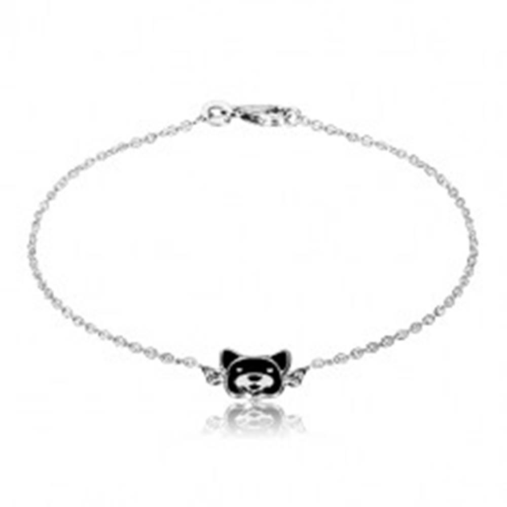 Šperky eshop Strieborný náramok 925 - lesklá retiazka, psík zdobený čiernou glazúrou, karabínka