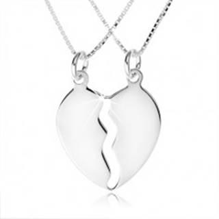 Strieborný náhrdelník 925, dve retiazky, dvojprívesok rozpoleného srdca
