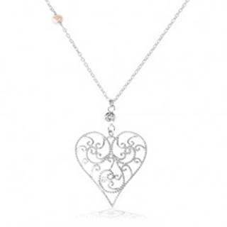 Strieborný náhrdelník 925, vypuklé srdce zdobené filigránom, číry zirkón