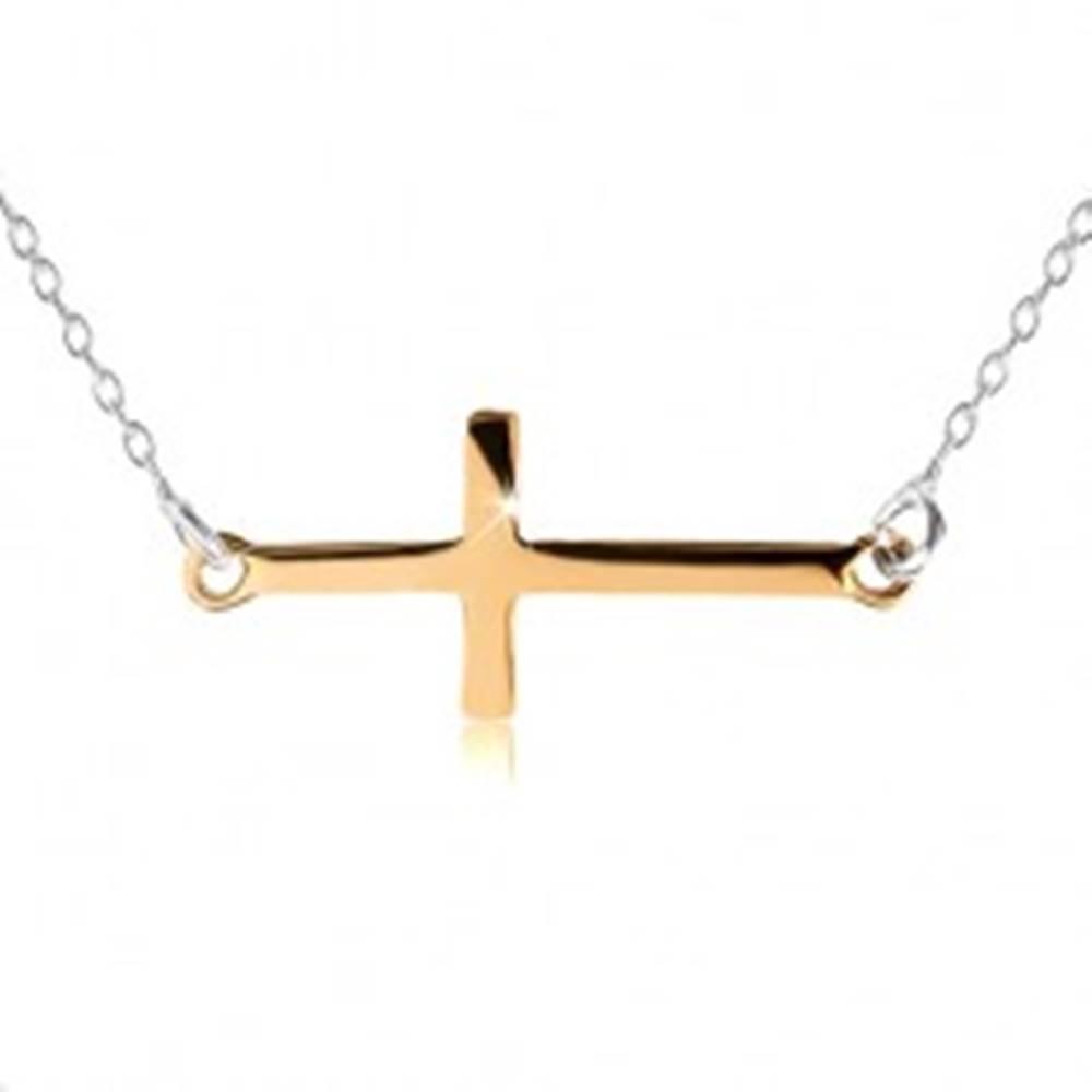 Šperky eshop Náhrdelník zo striebra 925, latinský krížik zlatej farby, nastaviteľná dĺžka