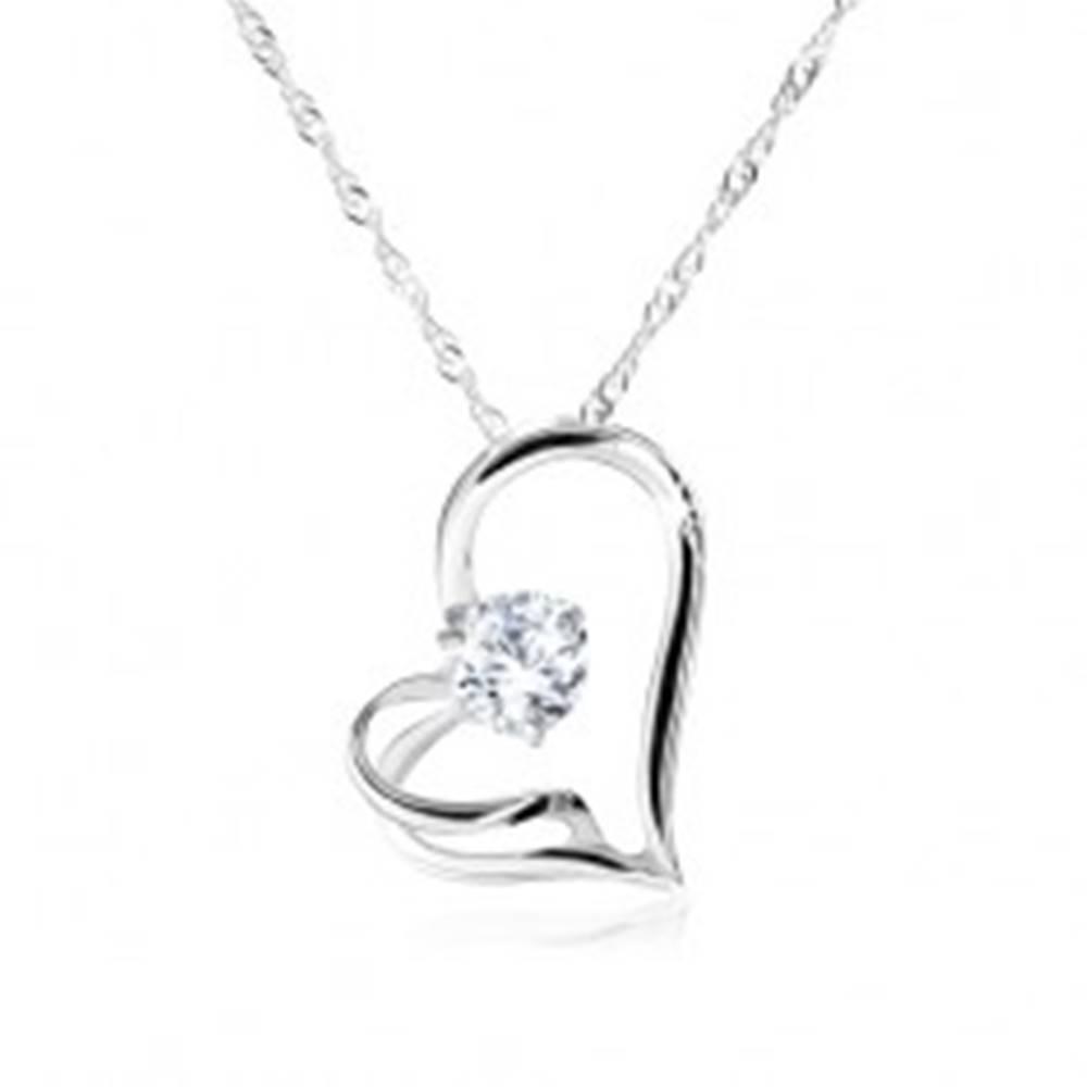 Šperky eshop Náhrdelník zo striebra 925, špirálovitá retiazka, asymetrické srdce, zirkón