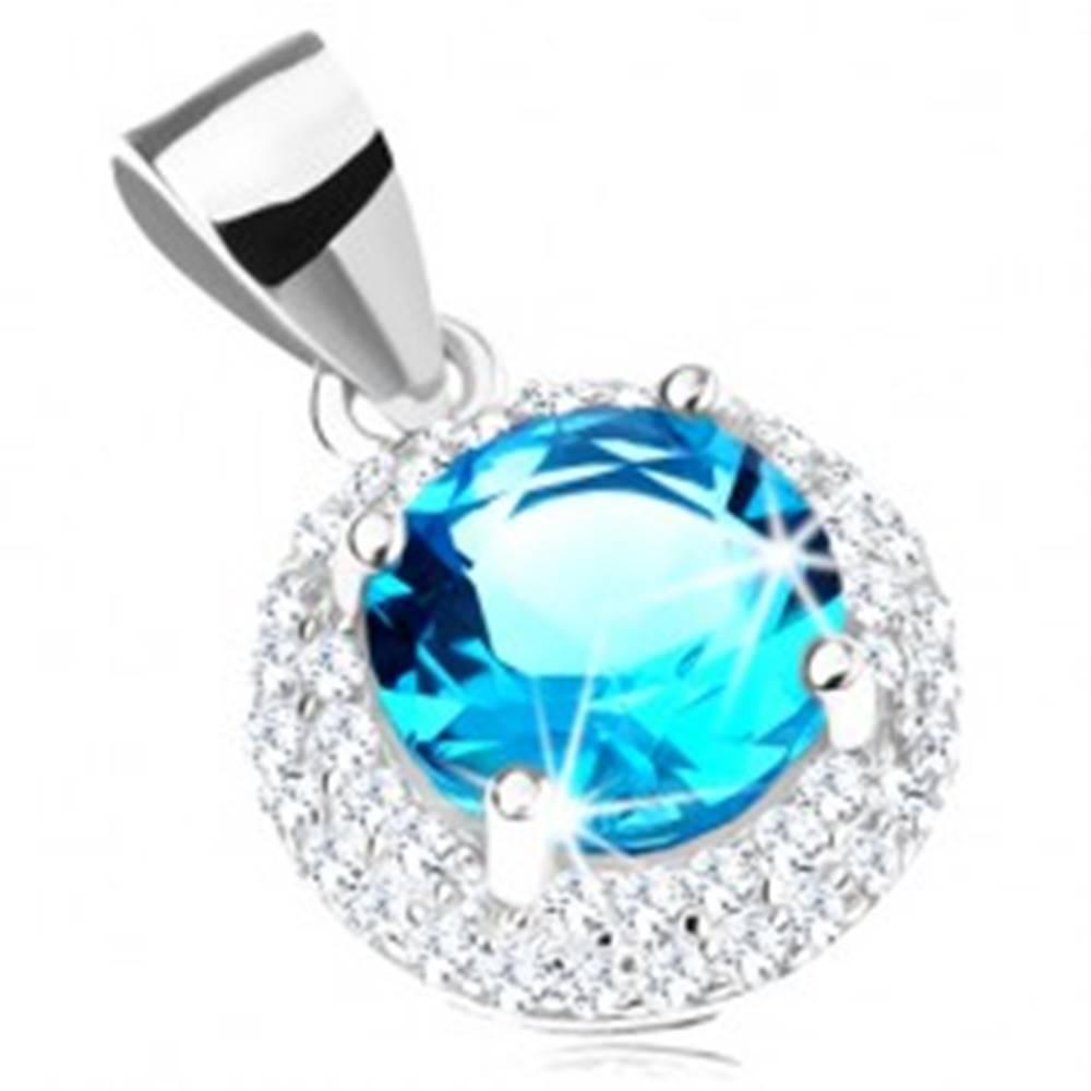 Šperky eshop Prívesok zo striebra 925, okrúhly zirkón akvamarínovej farby, číry lem