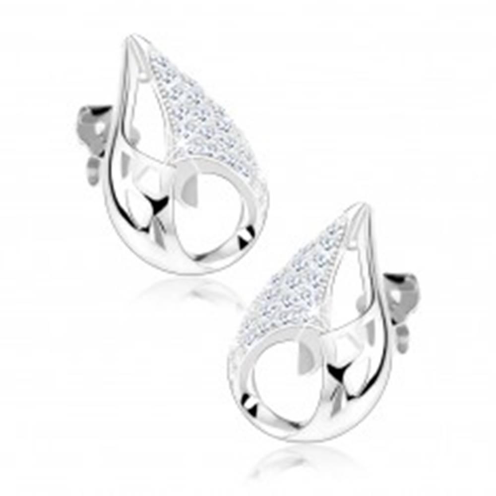 Šperky eshop Strieborné 925 náušnice, obrys kvapky, trojuholníky, výrezy, číre zirkóny