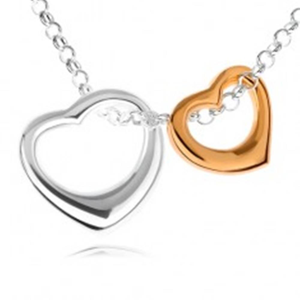 Šperky eshop Strieborný 925 náhrdelník - dve kontúry sŕdc v striebornom a zlatom prevedení