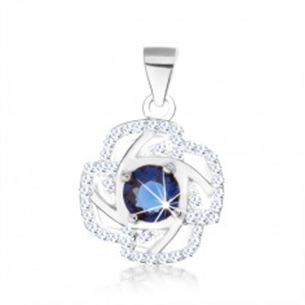 Šperky eshop Strieborný 925 prívesok, obrys kvetu, okrúhly zirkón modrej farby, strieborné línie