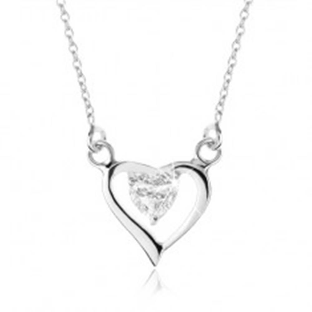 Šperky eshop Strieborný náhrdelník 925, obrys asymetrického srdca, zirkónové srdiečko