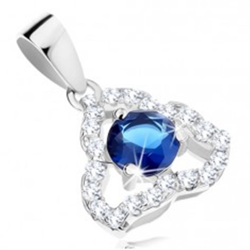 Šperky eshop Strieborný prívesok 925, číry nesúmerný obrys trojuholníka, modrý zirkón