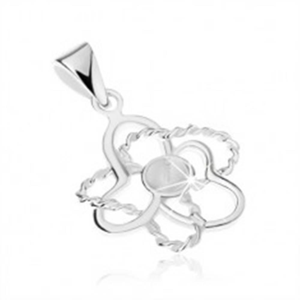 Šperky eshop Strieborný prívesok 925, kontúra kvetu, lesklé a špirálovité lupene, kolík