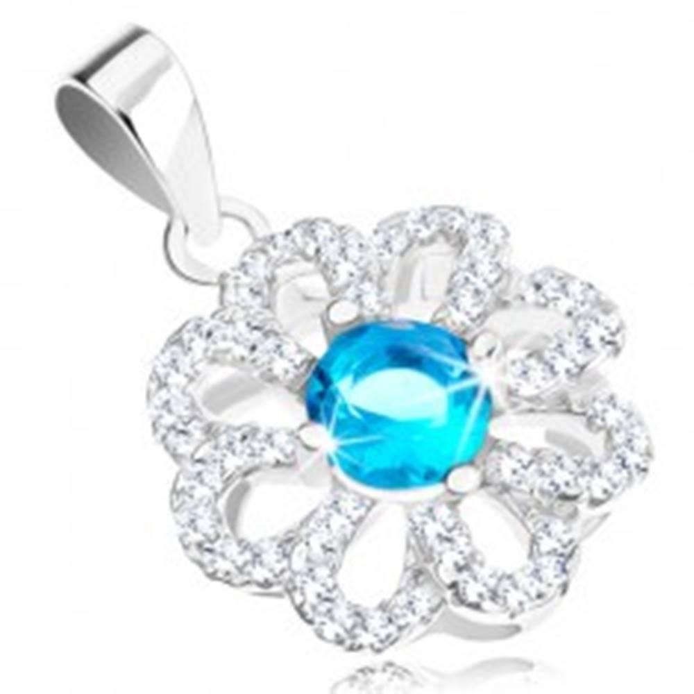 Šperky eshop Strieborný prívesok 925, kvietok s čírymi obrysmi lupeňov, svetlomodrý zirkón
