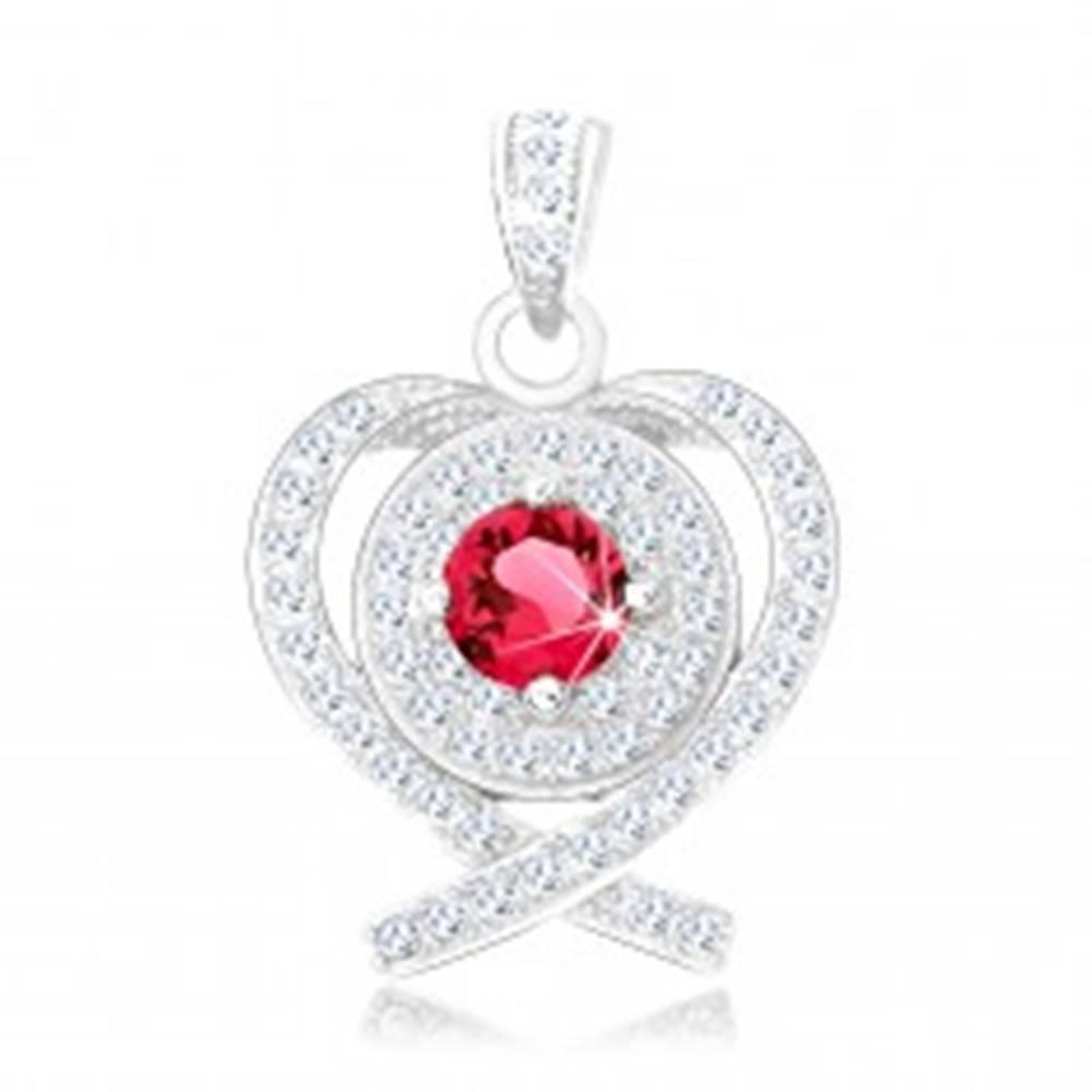 Šperky eshop Strieborný prívesok 925, ródiovaný, obrys srdca z prekrížených línií, červený zirkón
