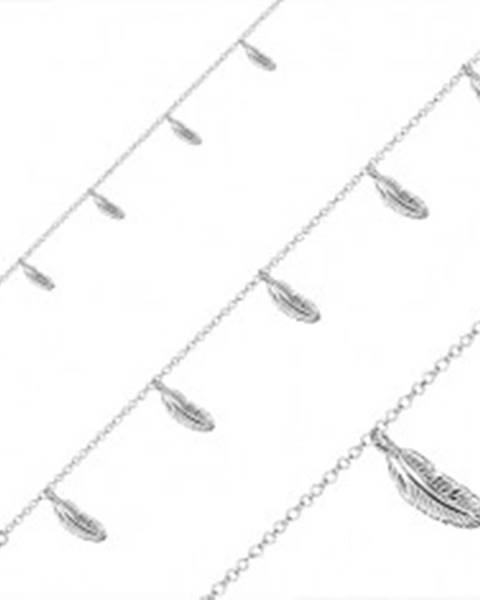 Šperky eshop Strieborný náramok 925 - päť príveskov v podobe pierok, okrúhle očká