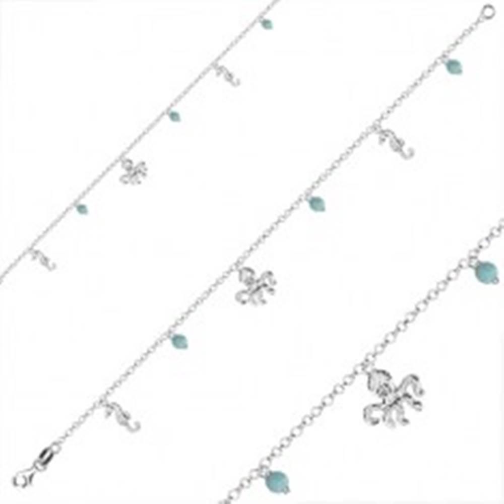 Šperky eshop Náramok zo striebra 925 - guľôčky, morský koník a chobotnica, karabínka