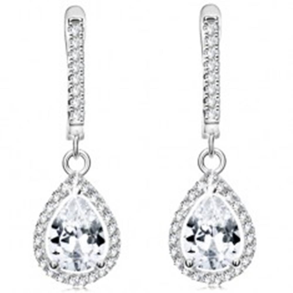 Šperky eshop Náušnice zo striebra 925, číry slzičkový zirkón v trblietavom obryse