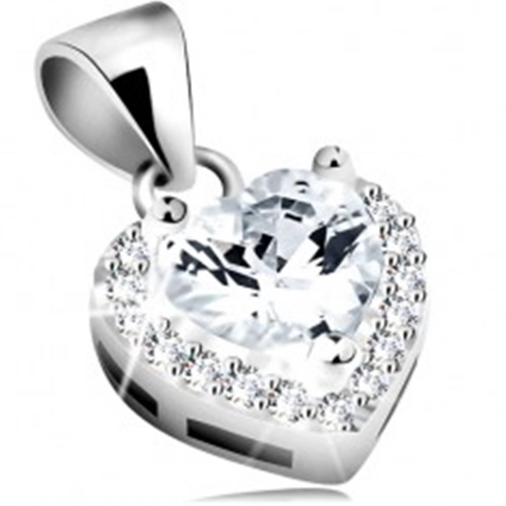 Šperky eshop Prívesok zo striebra 925, číre zirkónové srdce s trblietavým obrysom