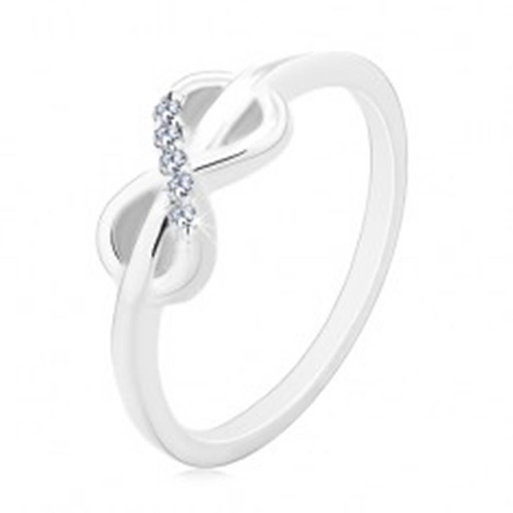 Šperky eshop Prsteň zo striebra 925, symbol INFINITY zdobený čírymi zirkónmi - Veľkosť: 49 mm