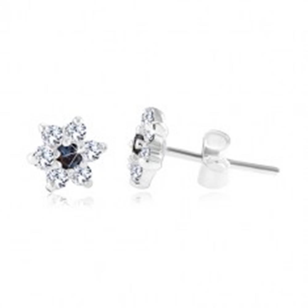 Šperky eshop Puzetové náušnice, striebro 925, ligotavý modro-číry zirkónový kvet