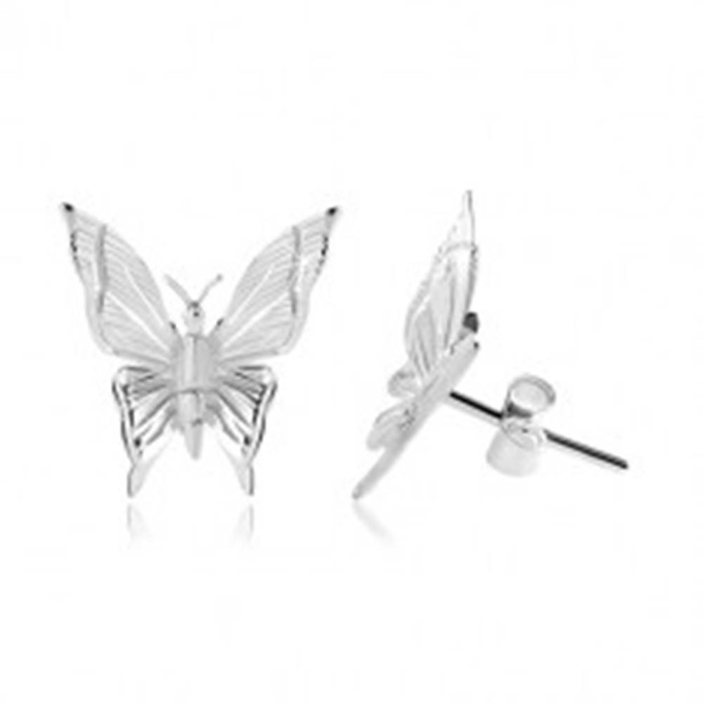 Šperky eshop Strieborné 925 náušnice, motýľ s gravírovanými zárezmi na krídlach
