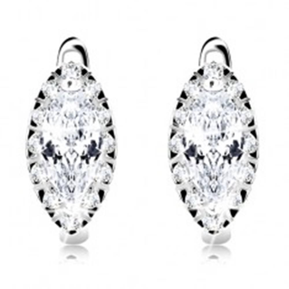 Šperky eshop Strieborné náušnice 925, číry zrnkový zirkón s ligotavým lemom, ródiované