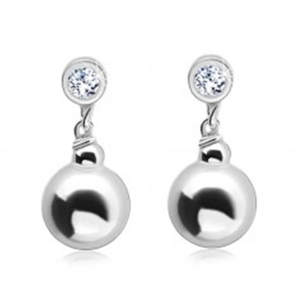 Šperky eshop Strieborné náušnice 925, okrúhly číry zirkón s visiacou guličkou
