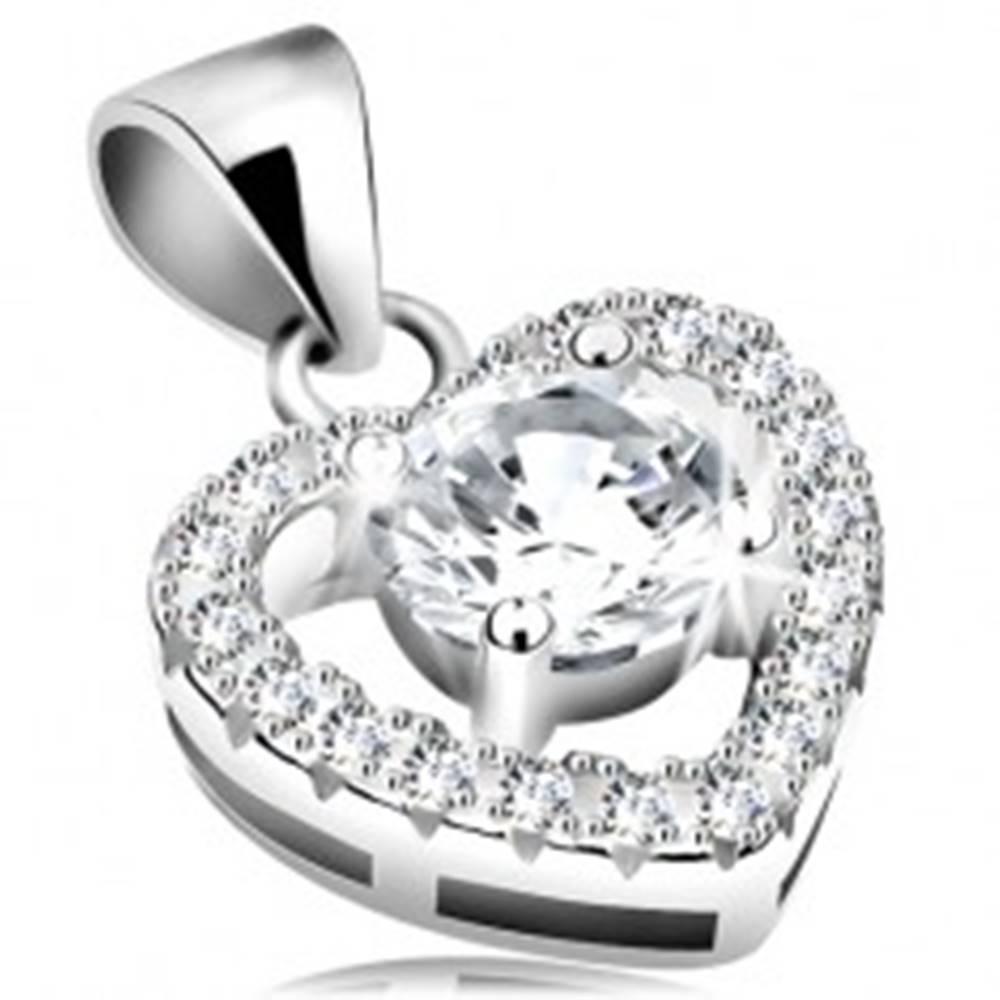 Šperky eshop Strieborný 925 prívesok, veľký číry zirkón v ligotavom obryse srdca