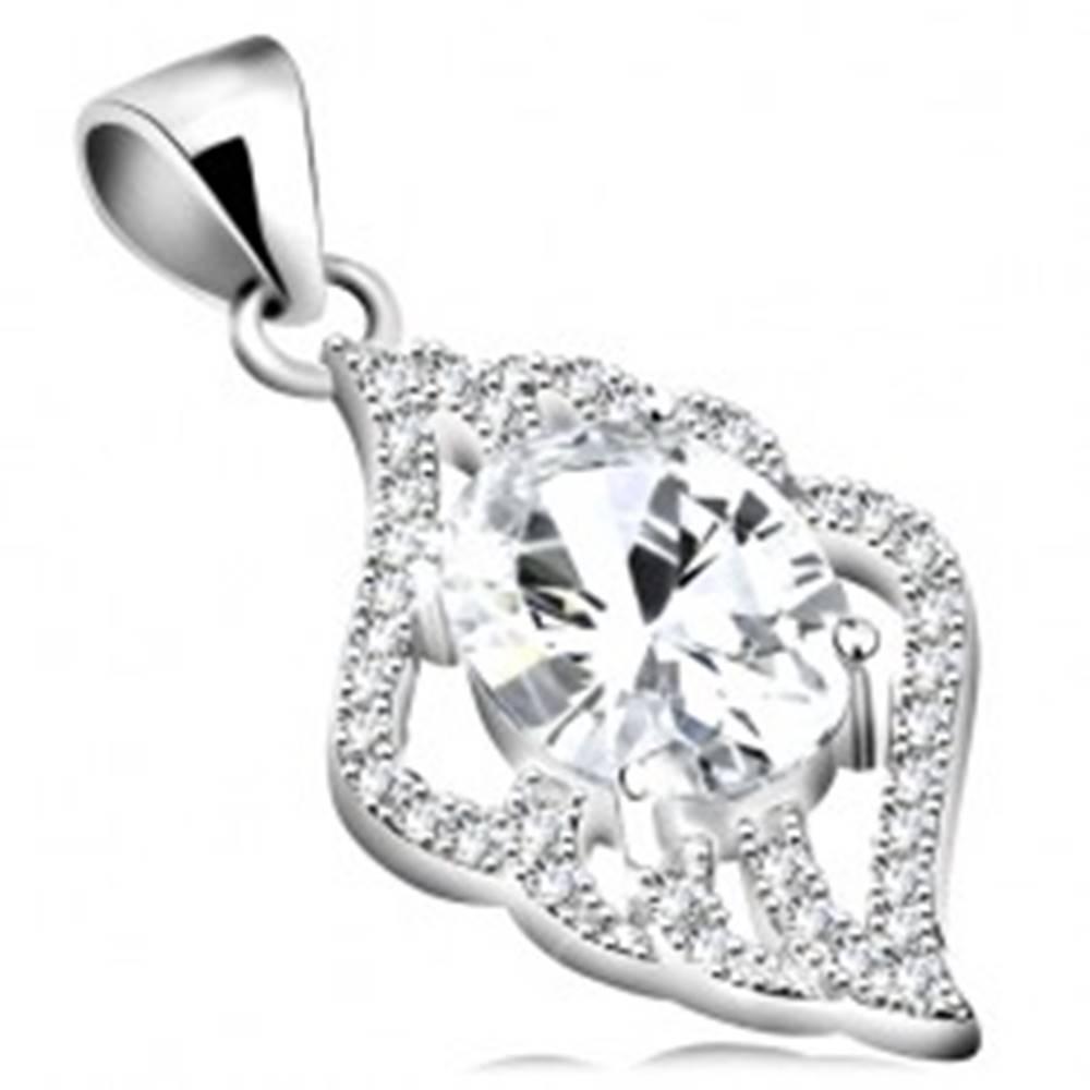 Šperky eshop Strieborný prívesok 925, číry zirkónový ovál, lístok, číre zvlnené kontúry