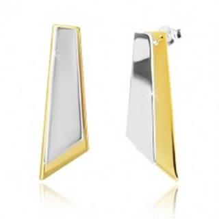 Strieborné náušnice 925 - nepravidelné štvoruholníky zlatej a striebornej farby