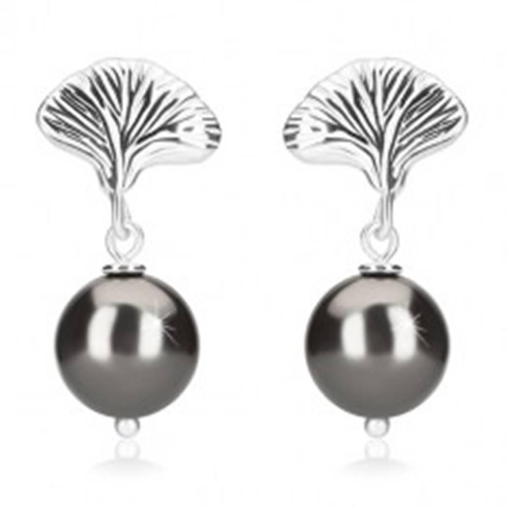 Šperky eshop Strieborné náušnice 925 - guľôčky hematitovej farby, mušľa, puzetky