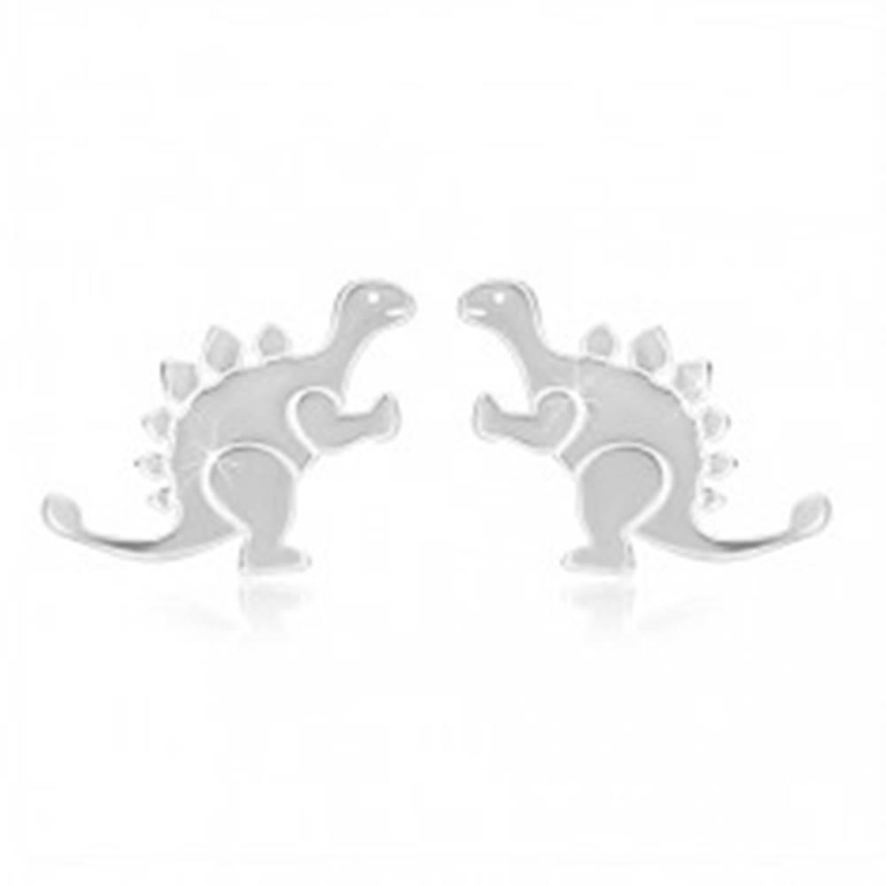 Šperky eshop Strieborné náušnice 925 - lesklý dinosaurus - stegosaurus, hladký povrch, puzetky