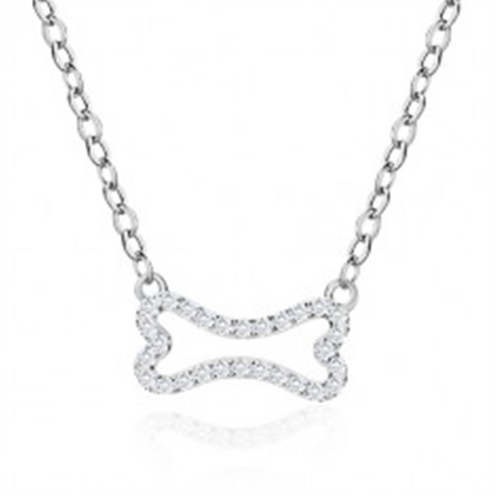 Šperky eshop Strieborný náhrdelník 925 - zirkónová kostička, list, lesklá retiazka z oválnych očiek