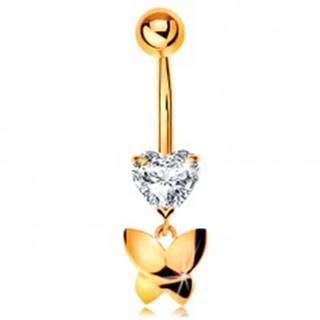 Zlatý 375 piercing do pupku - číre brúsené srdiečko, visiaci lesklý motýľ