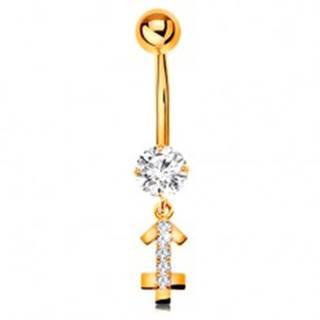 Zlatý 9K piercing do bruška - číry zirkón, ligotavý symbol zverokruhu - STRELEC