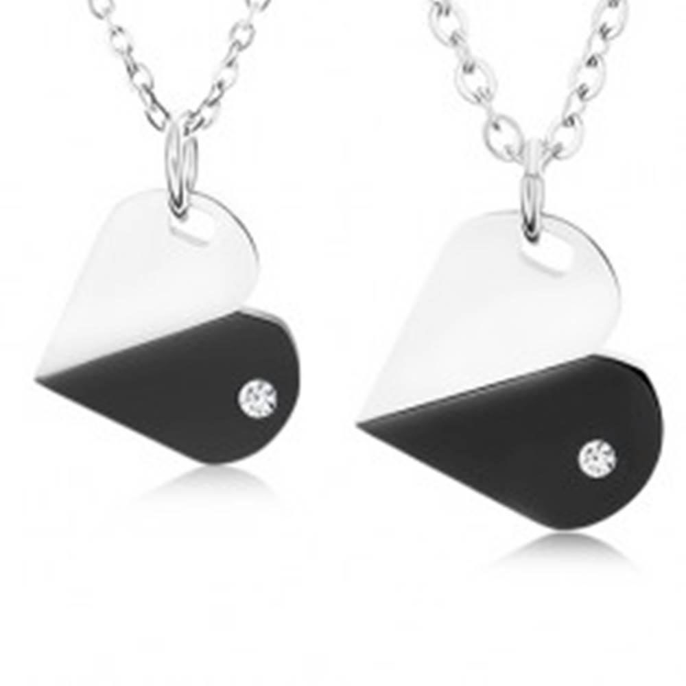 Šperky eshop Náhrdelníky pre dvoch z chirurgickej ocele, srdiečka v dvojfarebnom prevedení