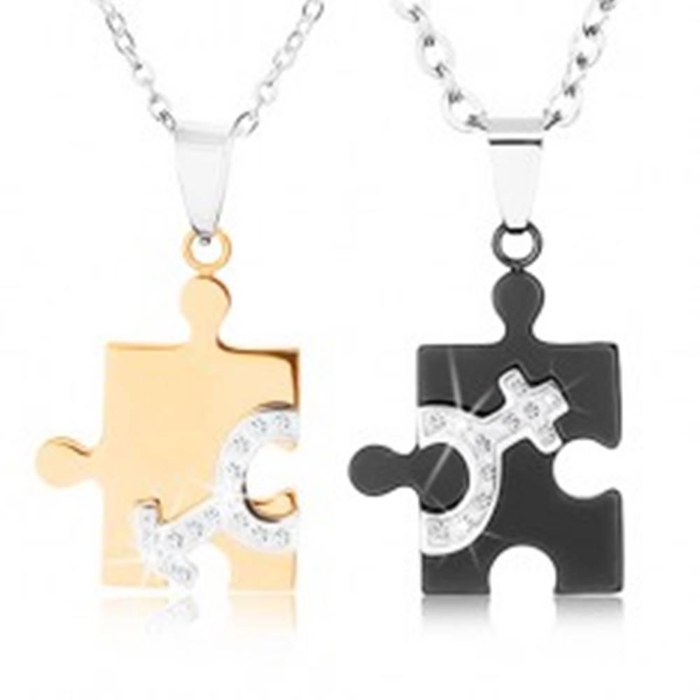Šperky eshop Náhrdelníky z ocele 316L pre dvojicu, puzzle v dvoch farbách, symboly ON a ONA