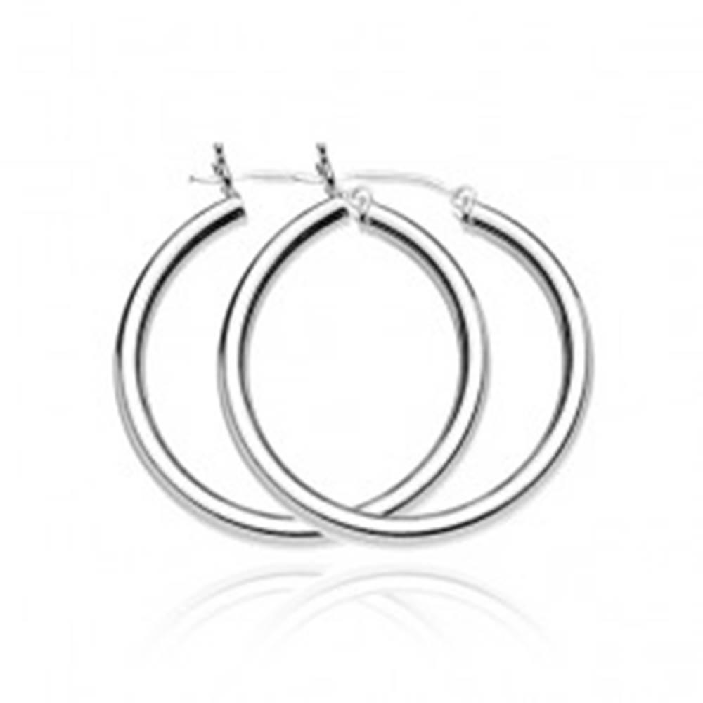 Šperky eshop Strieborné náušnice 925 - hrubé jednoduché kruhy, 40 mm
