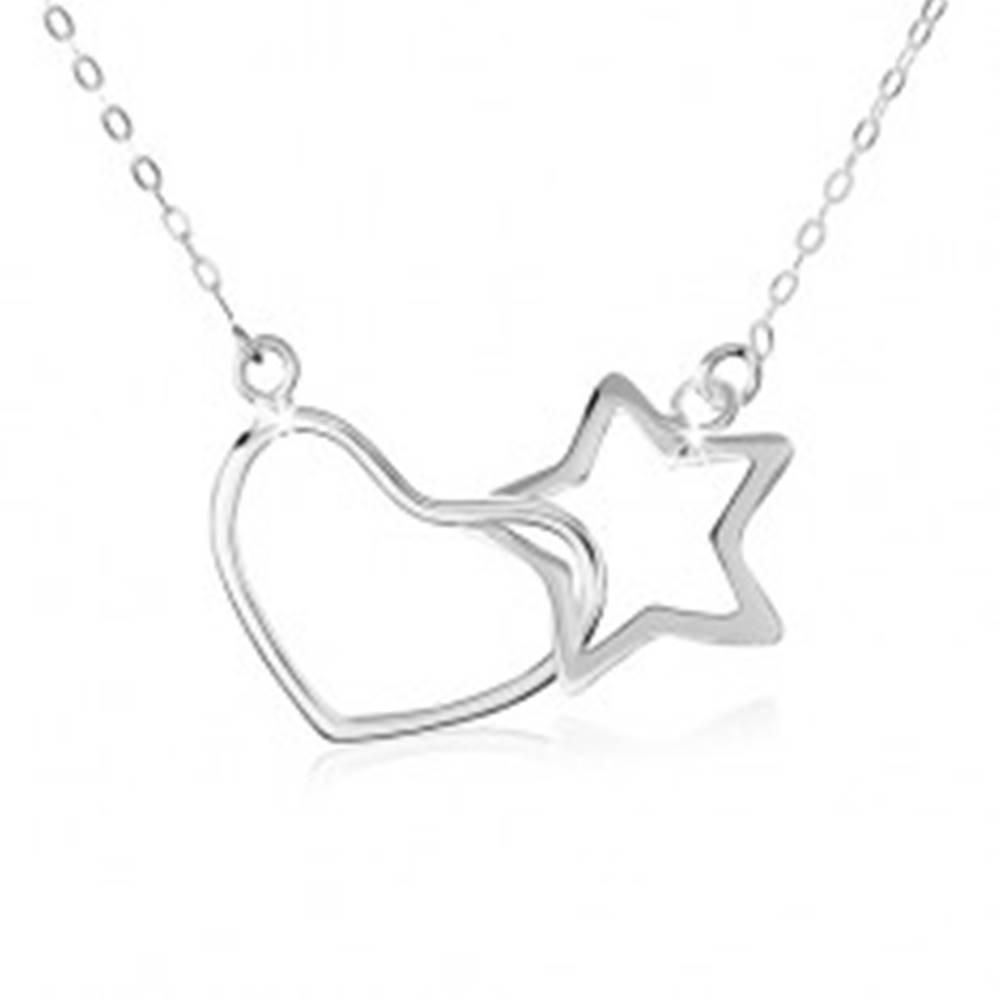 Šperky eshop Strieborný náhrdelník 925, oválne očká retiazky, obrys hviezdy a srdca