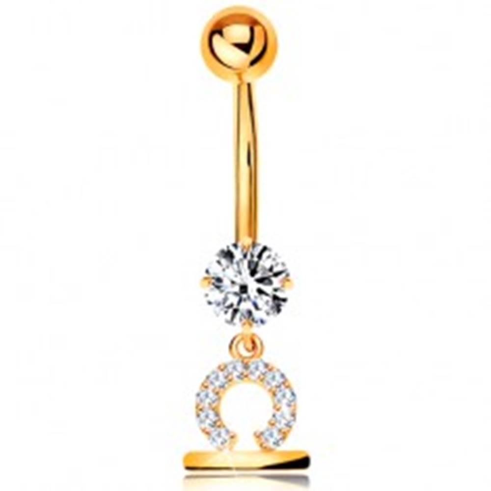 Šperky eshop Zlatý 375 piercing do bruška - číry zirkón, lesklý symbol zverokruhu - VÁHY