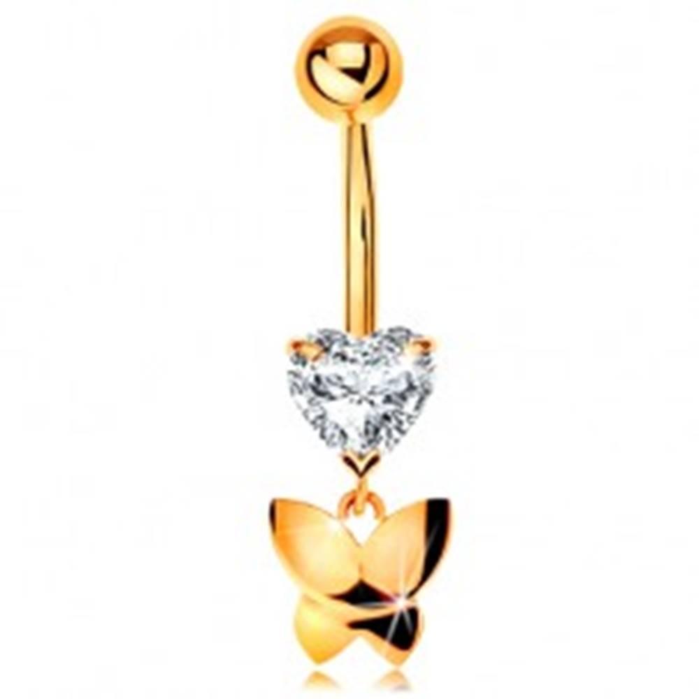 Šperky eshop Zlatý 375 piercing do pupku - číre brúsené srdiečko, visiaci lesklý motýľ
