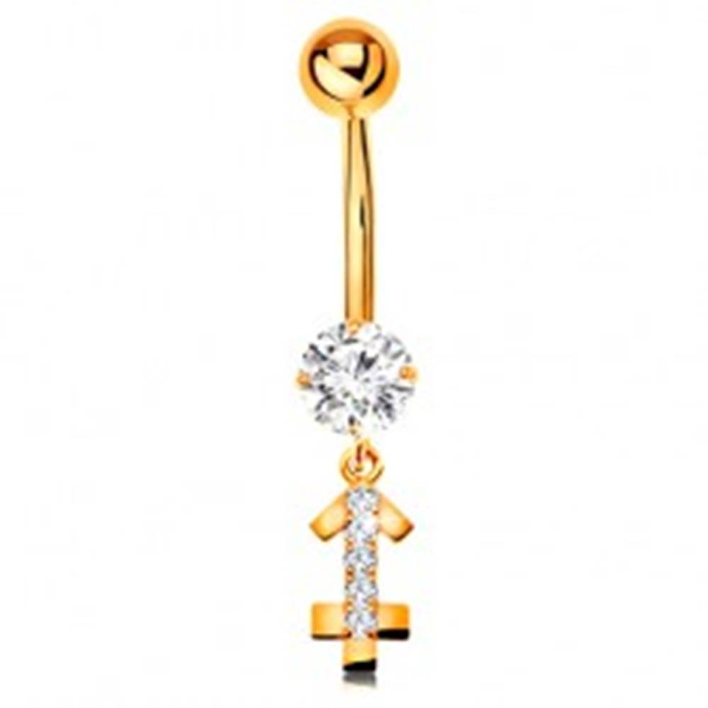 Šperky eshop Zlatý 9K piercing do bruška - číry zirkón, ligotavý symbol zverokruhu - STRELEC