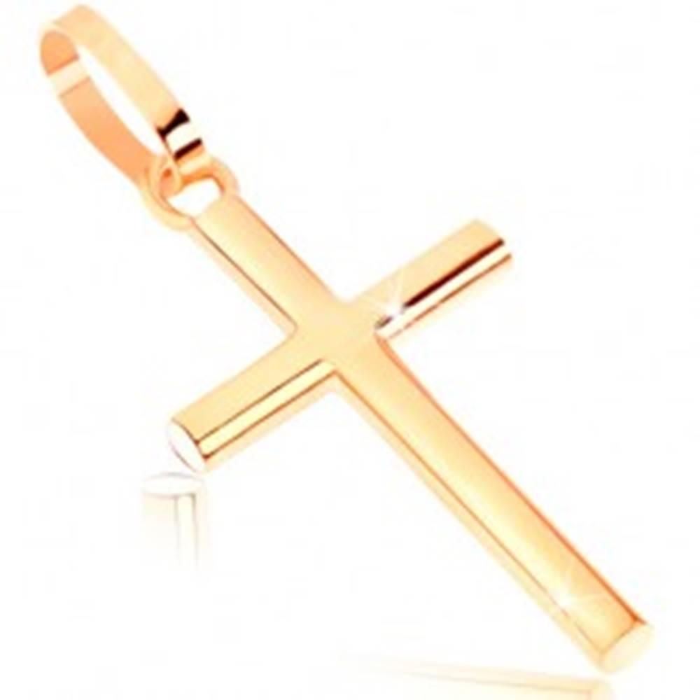 Šperky eshop Zlatý prívesok 375 - lesklý latinský krížik s okrúhlym prierezom ramien