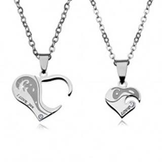 Dva oceľové náhrdelníky pre zaľúbených, srdiečkové prívesky s nápismi a zirkónmi