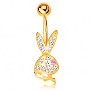 Piercing do brucha v žltom 9K zlate - trblietavá hlava zajačika s ružovým očkom