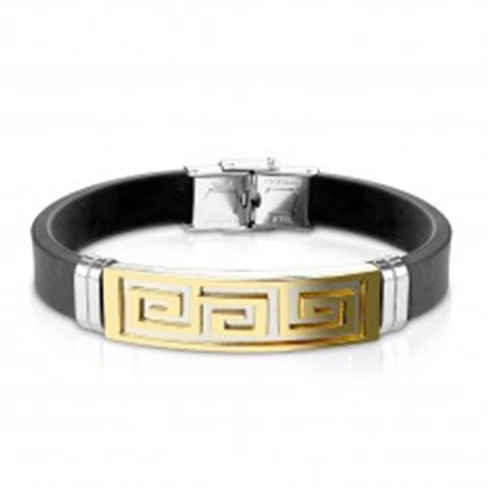 Šperky eshop Náramok z čiernej gumy, oceľová známka s gréckym kľúčom zlatej farby
