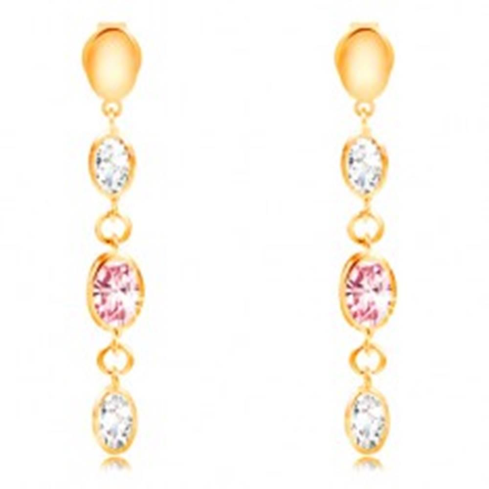Šperky eshop Náušnice v žltom zlate 585 - visiace ovály, zirkóny ružovej a čírej farby
