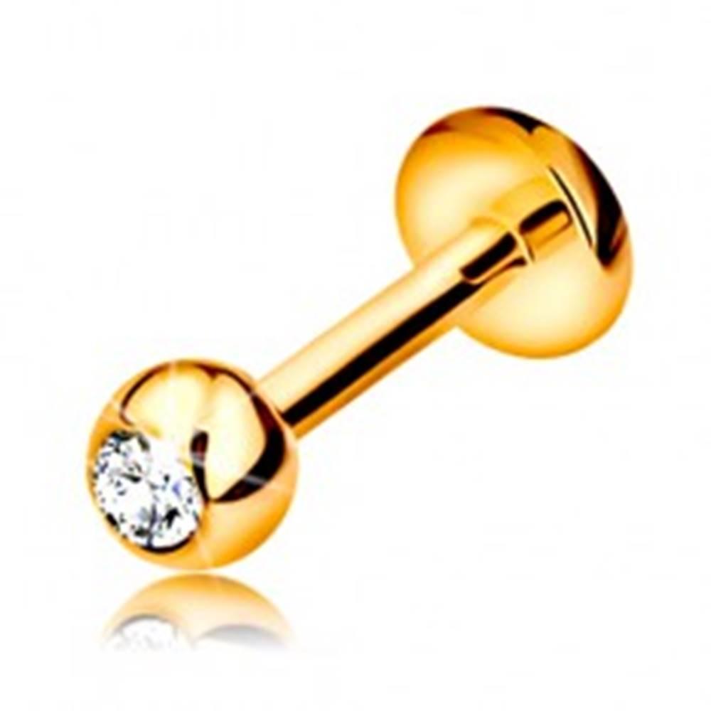 Šperky eshop Piercing v žltom 9K zlate - do pery, brady a nad peru, gulička so zirkónom, 6 mm